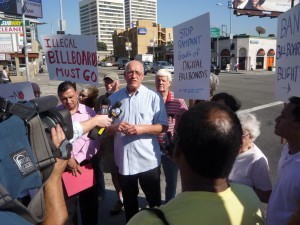 City Councilman Bill Rosendahl Talks to the Press