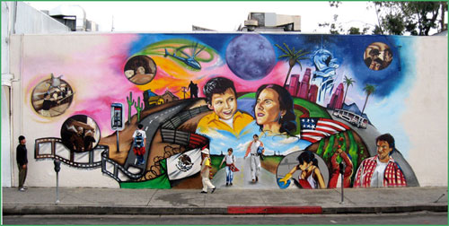 City will try to untangle public art murals from for Mural la misma luna
