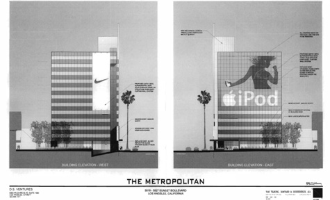 Architectural Rendering of Supergraphic Signs at 5825 Sunset Blvd.