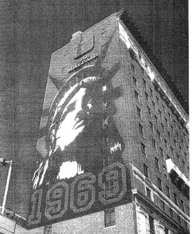 "Photograph taken by building inspector on Jan. 8, 2009.  According to the inspector, a photograph purportedly taken of the sign two weeks earlier does not show the windows or the ""Mayfair Hotel"" at the top and the ""1969"" at the bottom"