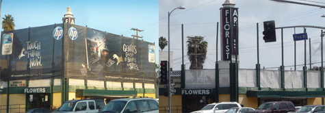 Supergraphic, left, put up on West L.A. flower shop last year,  removed last week