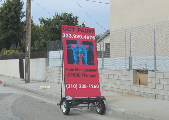 Mobile billboard parked on L.A. Street