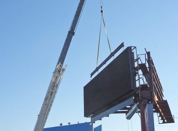 Digital billboard being erected on Westwood Blvd. in 2008