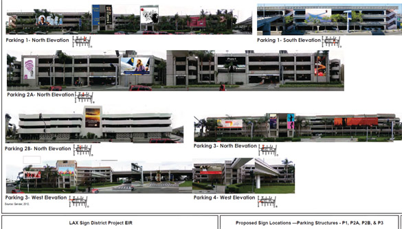 Simulation of digital and supergraphic signs on LAX parking structures