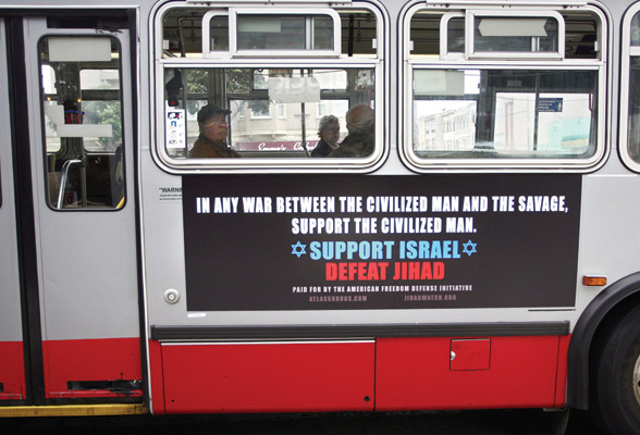 Ad allowed under threat of legal action on municipal bus in San Francisco