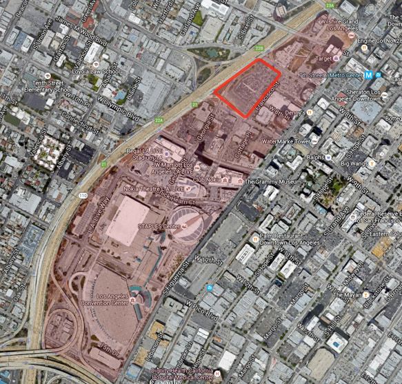 Shaded area of downtown L.A. to be exempted from state sign laws.  Metropolis project site outlined in bright red.