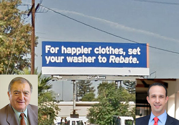 Clear Channel billboard without permit. Inset, left, Hal Bernson; right, Mitchell Englander