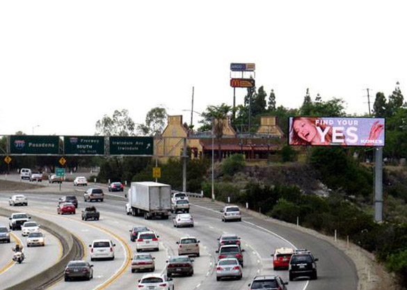 Clear Channel digital billboard on 210 freeway