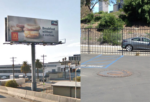 Left, illegal billboard on plumbers union property; right, after billboard removal
