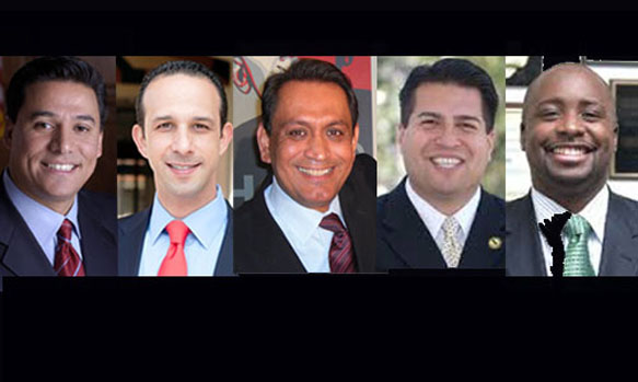 L.A. City Council PLUM committee, from left: Jose Huizar, Mitchell Englander, Gil Cedillo, Felipe Fuentes, Marqueece Harris-Dawson