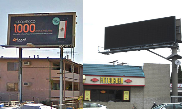 Under latest plan, Clear Channel could take down three billboards like the one on the left in East L.A. and turn on the digital billboard, right, in West L.A.